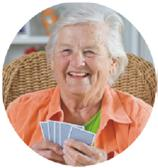 Elderly women playing cards