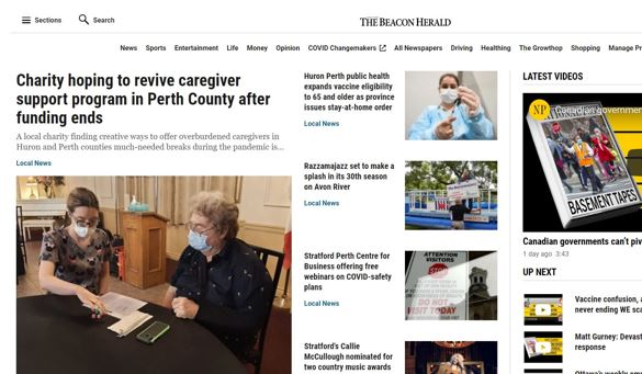 Article written by the Stratford Beacon Herald with Image of ONE CARE client